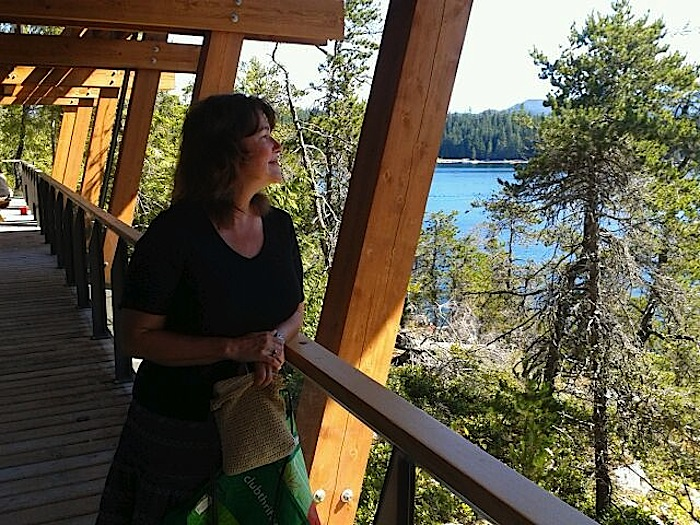 Kathi Camileri looking out from Klahoose New Relationship Building on Cortes Island – Roy L Hales photo