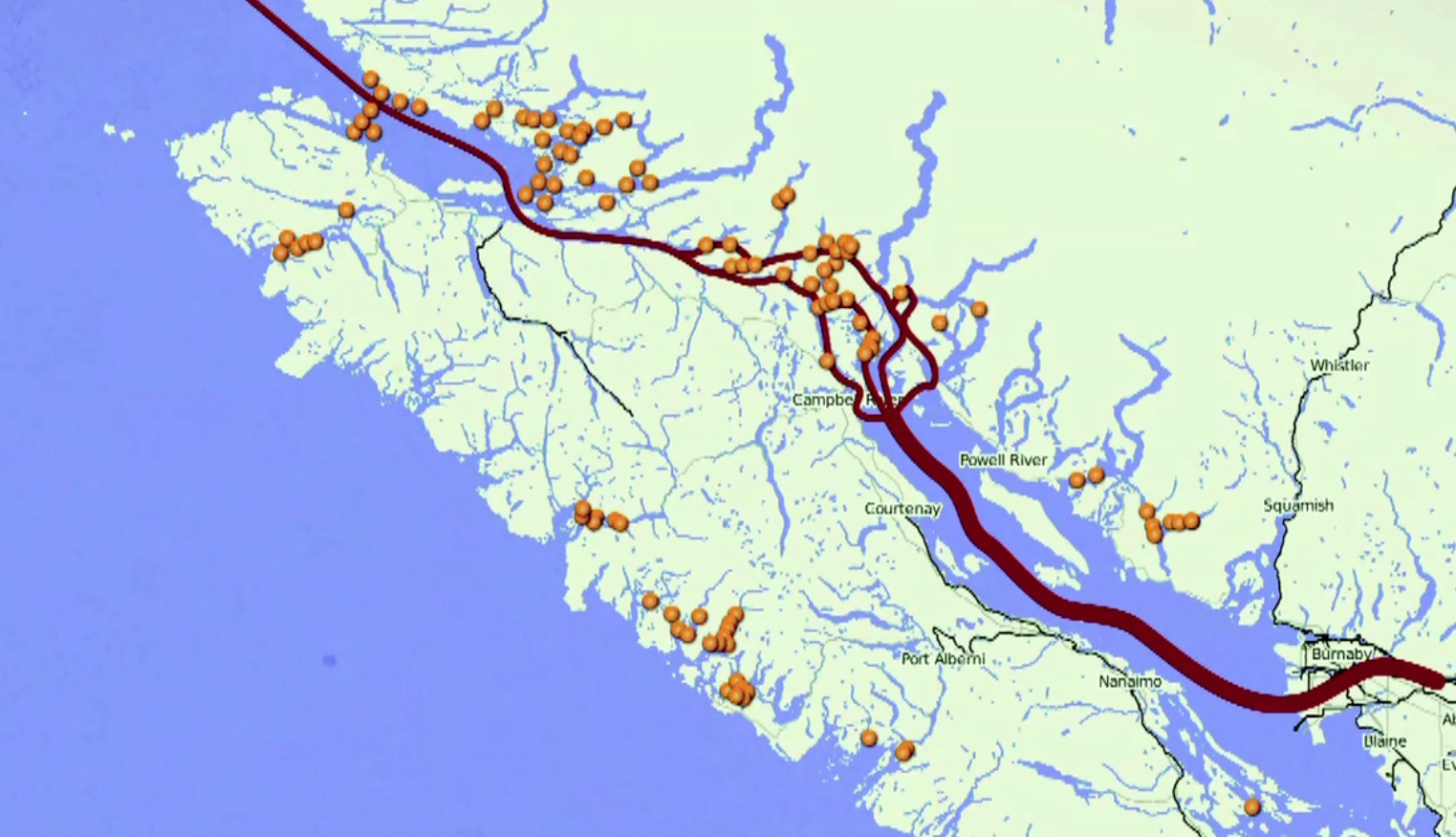Map Showing fish farms along the major Salmon Migration Route - Salmon Confidential Documentary