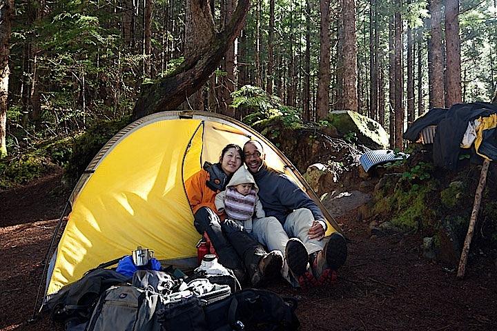Brad, Mariko & Taiyo Gibson camping - photo courtesy Brad Gibson