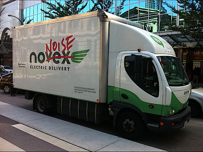 Novex, No Noise Electric Delivery Truck, in Vacouver. Electric delivery vehicle parked next to the Hornby separated bike lane. The curb is designed for easy loading access. - Paul Kreuger photo (cc x 4.0)