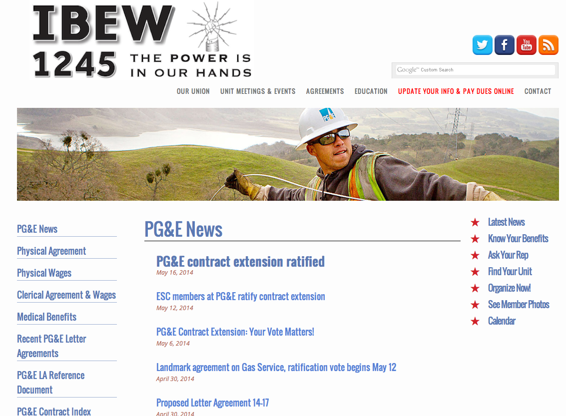 Screenshot from the PGE page on the IBEW website