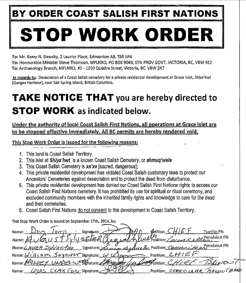 Stop Work Order signed by Chief Don Tom Tsartlip FN; August Sylvester, counsellor Penalakut FN; Laura Sylvester, Counsellor Penalakut First Nation; William Seymour, Chief Tsawout band; Louis Claxton, Counsellor Tsawout band (Click on image to enlarge)