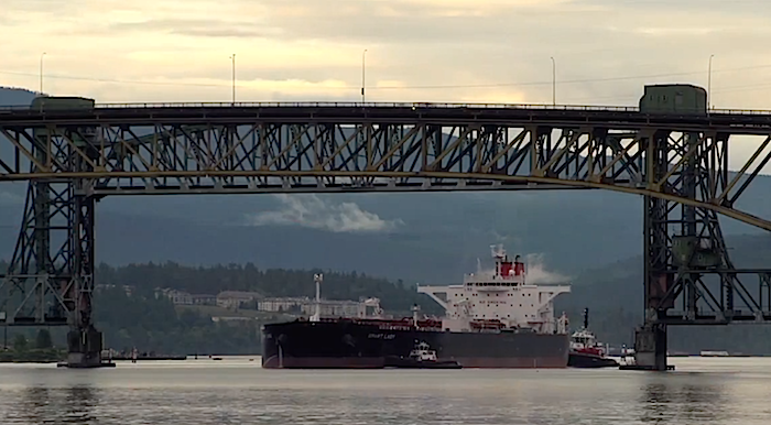 Loaded Oil Tanker leaving Vancouver - From the Wilderness Committee Video Save the Salish Sea