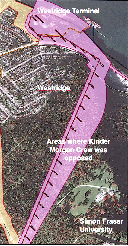 Adapted from maps in schedule A of Trans Mountain's Order Made AFter Application