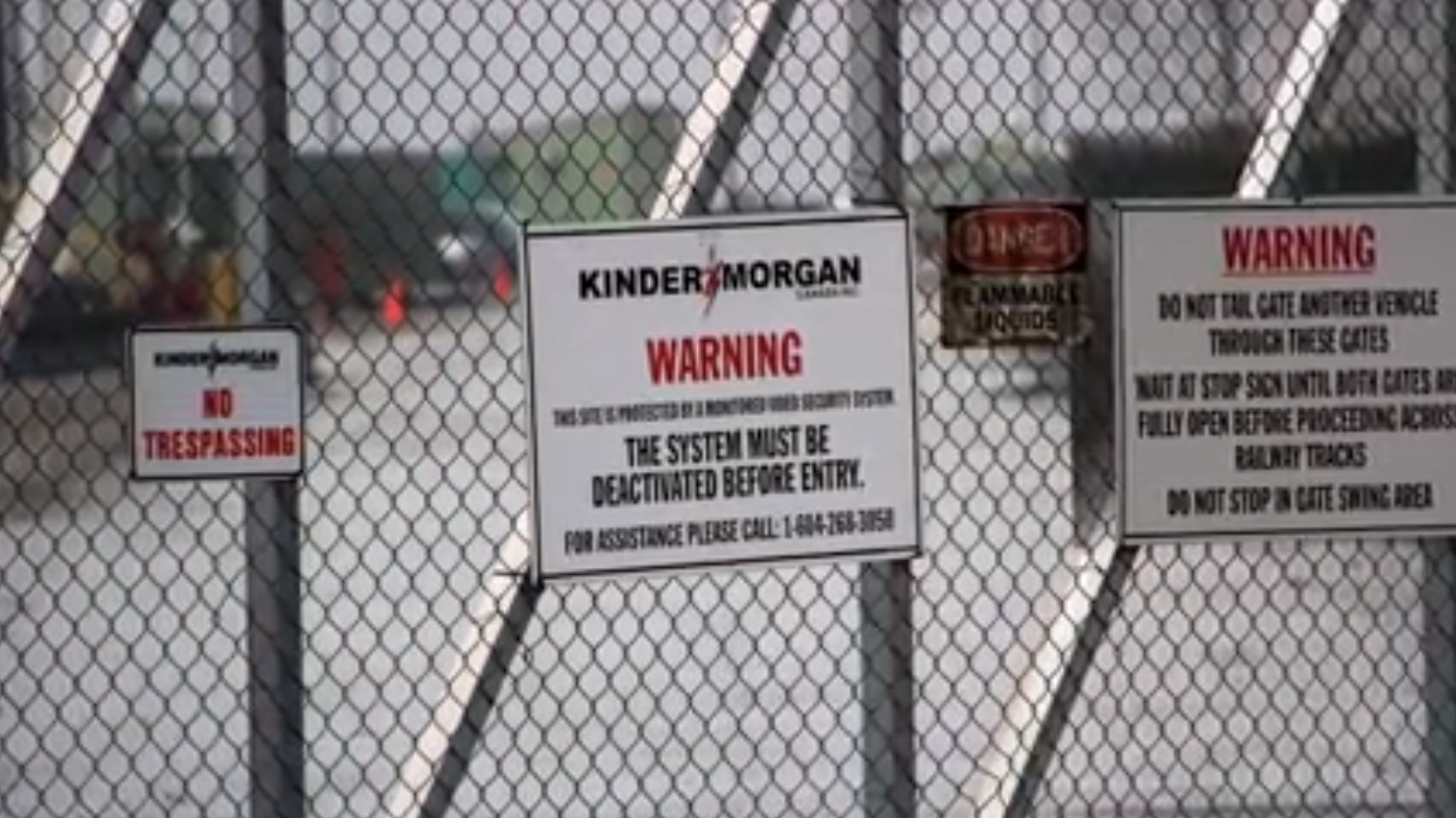 """Entrance to Kinder Morgan's Westridge Marine Terminal - Courtesy the Wilderness Committee video """"Save the Salish Sea"""""""