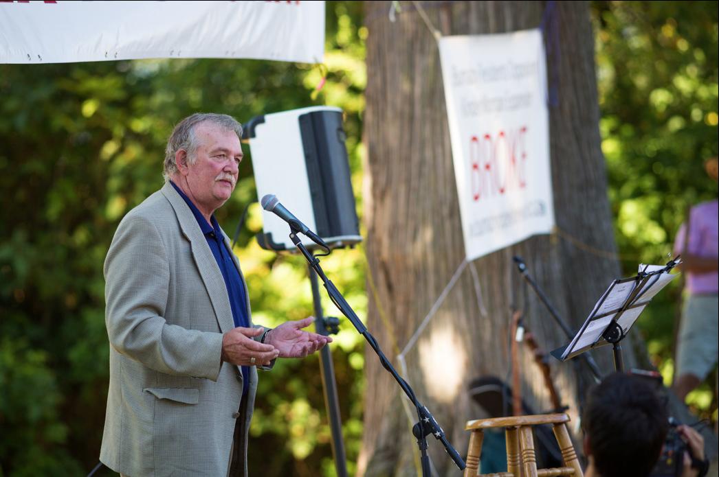 BUrnaby Mayor Derek Corrigan addressing a previous protest rally - Courtesy Mark Klotz, CC By Sa, 2.0