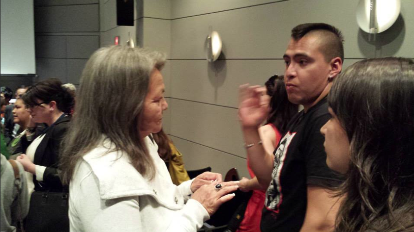 Chief Liz Logan (l) speaking to First Nations activist at the SFU's Harbour Center last May – Courtesy LNG Pipedreams: Fracked Futures and Community Resistance.