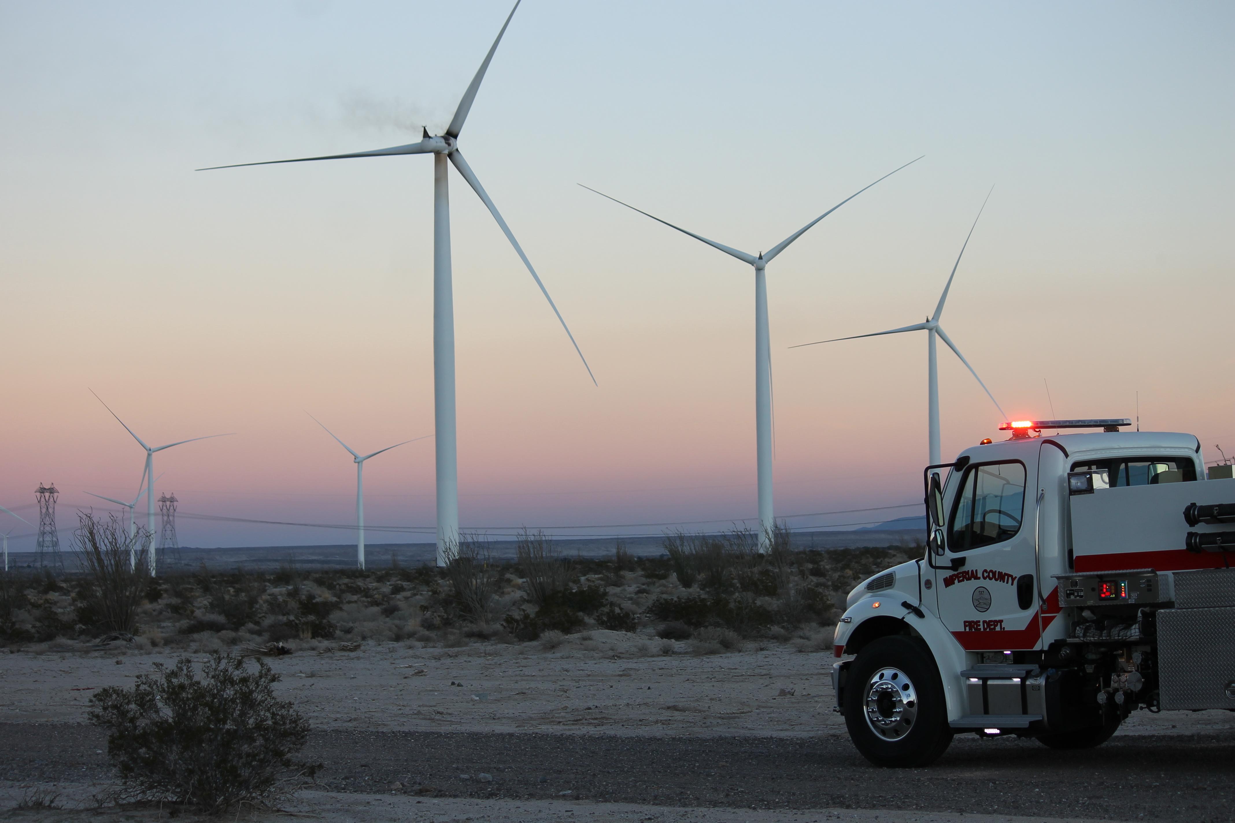 (photo Credit) Fire Truck near WInd turbine #110 fire at Ocotillo by Jim Pelley