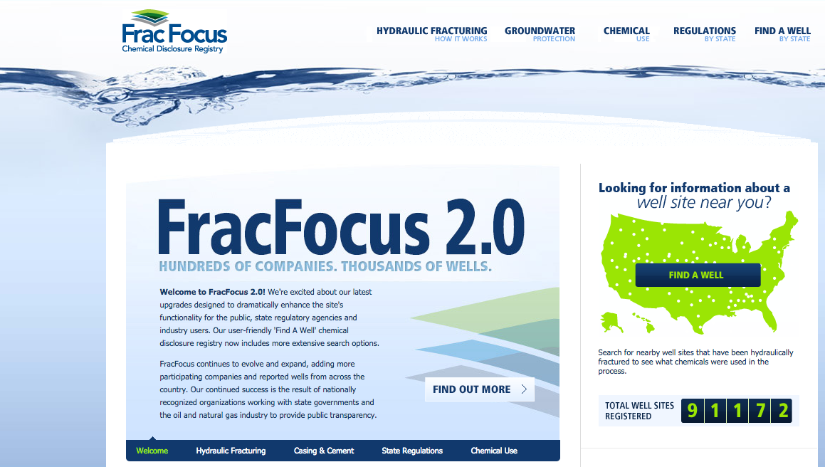 Screenshot from the website FracFocus
