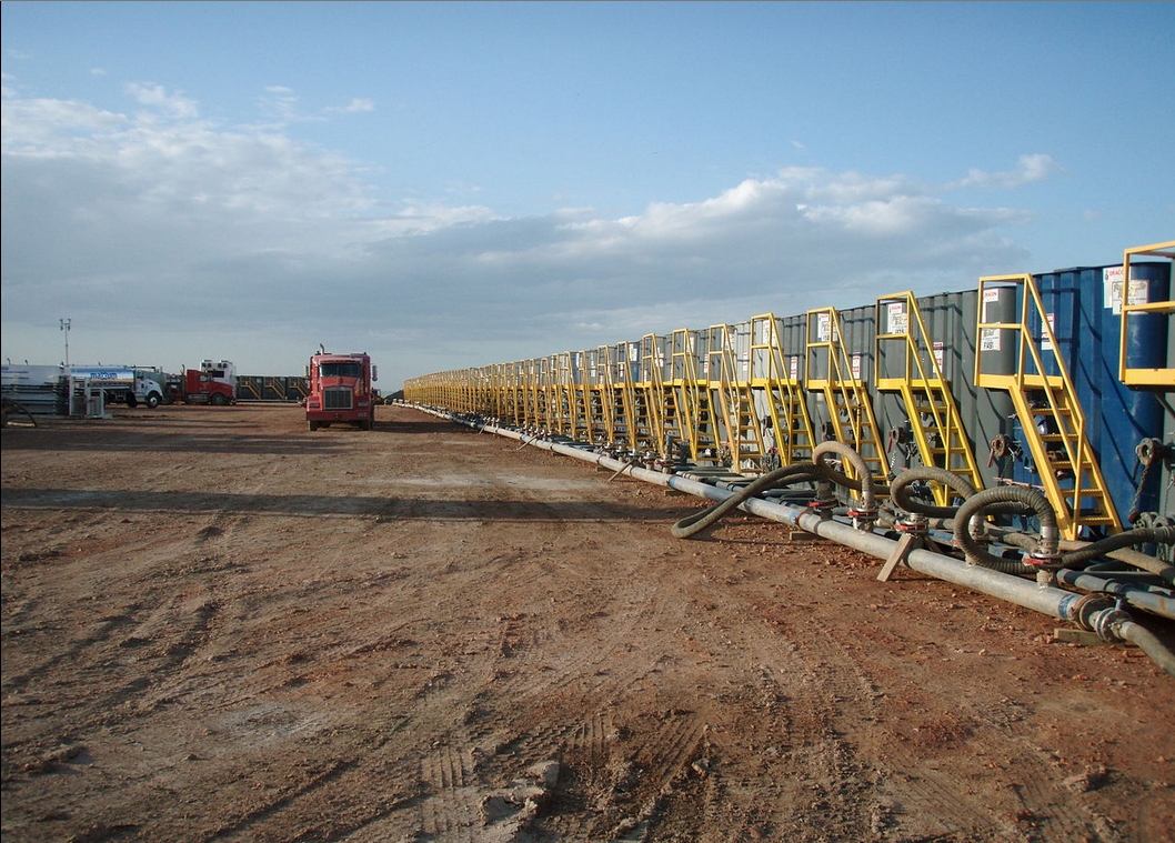 Photo Credit: Water tanks preparing for hydraulic fracturing by Joshua Doubek via Wikipedia (CC BY SA, 3.0 License)