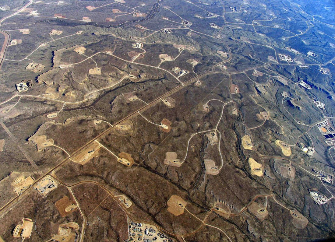 Photo Credit: n areas where shale-drilling/hydraulic fracturing is heavy, a dense web of roads, pipelines and well pads turn continuous forests and grasslands into fragmented islands. from Simon Fraser University via Flickr (CC BY SA, 2.0 License)