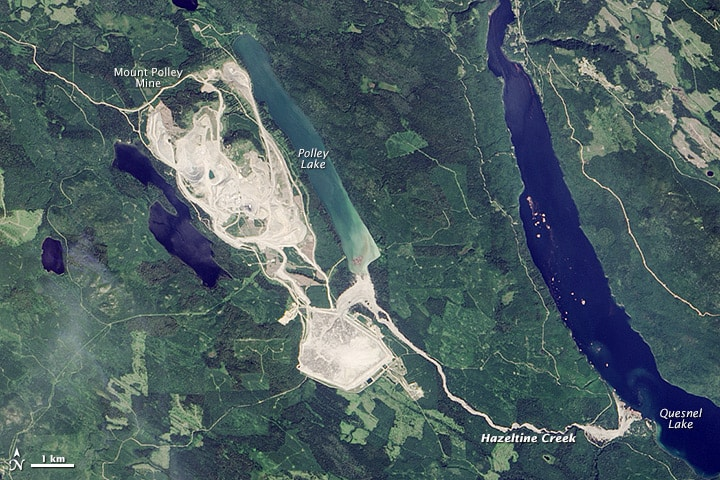 Photo Credit: Mount Polley tailings pond emptied into surrounding waterways after the breach by Jesse Allen, using Landsat data from the U.S. Geological Survey via wikipedia (Public Domain)