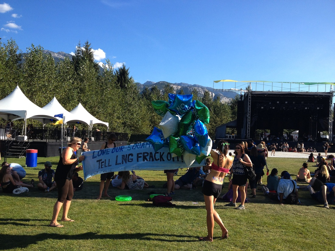 "Photo Credit: ""No LNG Fracking"" Squamish Valley Music Festival by Christine Rondeau via Flickr (CC BY SA, 2.0 License)"