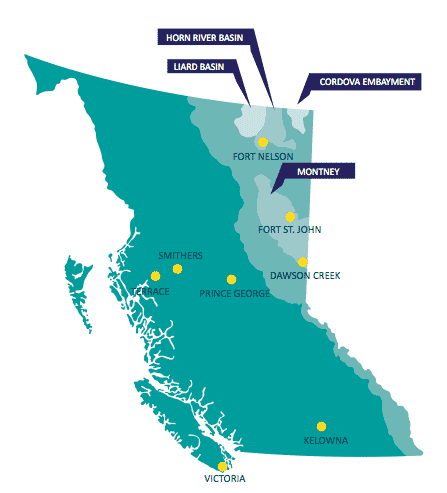 Commission Offices & BC's Major Gas Plays - From the Montney Study