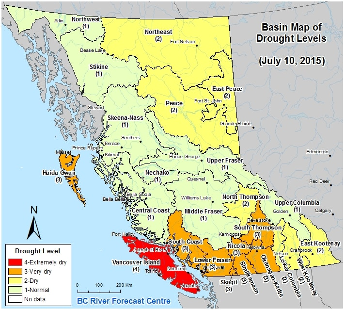 Basin Map of Drought Levels from the Province of BC