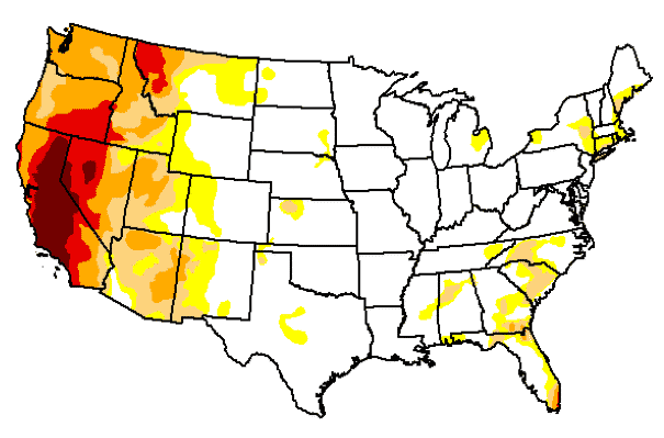 US Drought Conditions as of July 7, released July 9 - US Drought Monitor