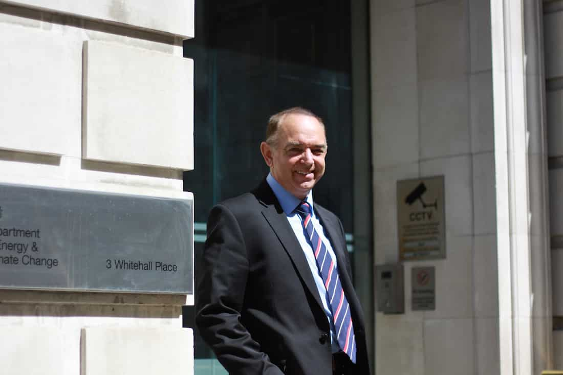 Lord Bourne of Aberystwyth outside the Department of Energy and Climate Change - from Department of Energy & Climate Change via Flickr (CC BY SA, 2.0 License)