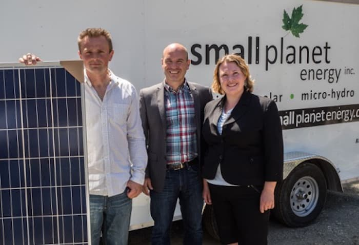 Rachel Blaney and NDP finance critic Nathan Cullen recently discussed the party's plans to support small business and sustainable energy with Jarek Kubacki, owner of Small Planet Energy in Campbell River- Courtesy Rachel Blaney's Campaign Office