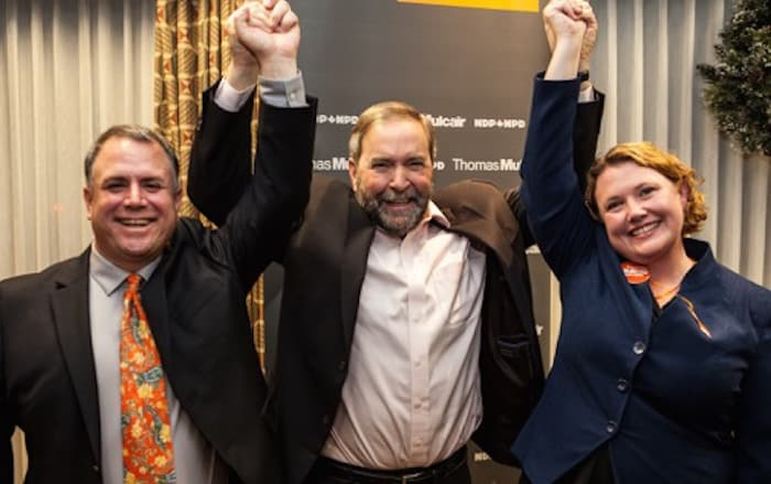 North Island-Powell River candidate Rachel Blaney, NDP leader Tom Mulcair, and Courtenay- Alberni candidate Gord Johns were in high spirits after a well-attended rally in Courtenay - Courtesy Rachel Blaney's Campaign Office