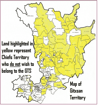 "Map from Madii Lii website showing Head Chiefs of the House groups from ""over 65% of all the traditional territory of the Gitxsan Nation"" who do not acknowledge the Gitxsan treaty Society asno longer acknowledge the treaty society as representatives of the Gitxsan people."
