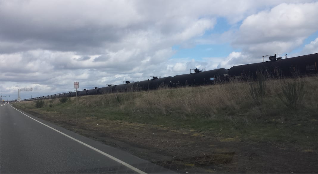 BNSF oil train, Auburn, WA Nearly two miles of oil cars, stretching from downtown Auburn most of the way to the White River bridge. Nothing unusual these days - by joshua_putnam via Flickr (CC BY SA, 2.0 License)