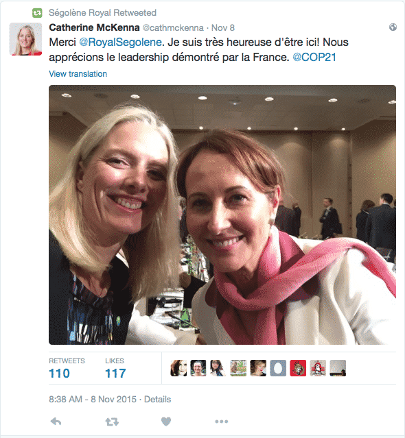 """McKenna pictured with French minister is I am very happy to be here ! We appreciate the leadership shown by France."""""""