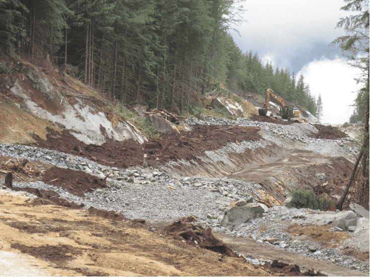 The begining of remediation. Trees will eventually be planted on top of the covered penstock - Courtesy Alterra Power