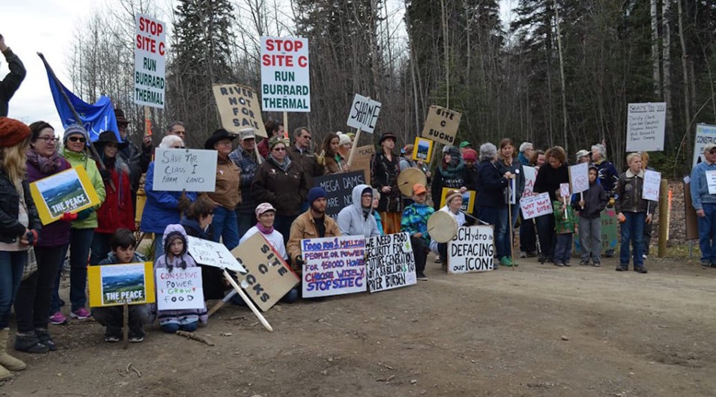 October 17, 2015 protest before entrance to Site C