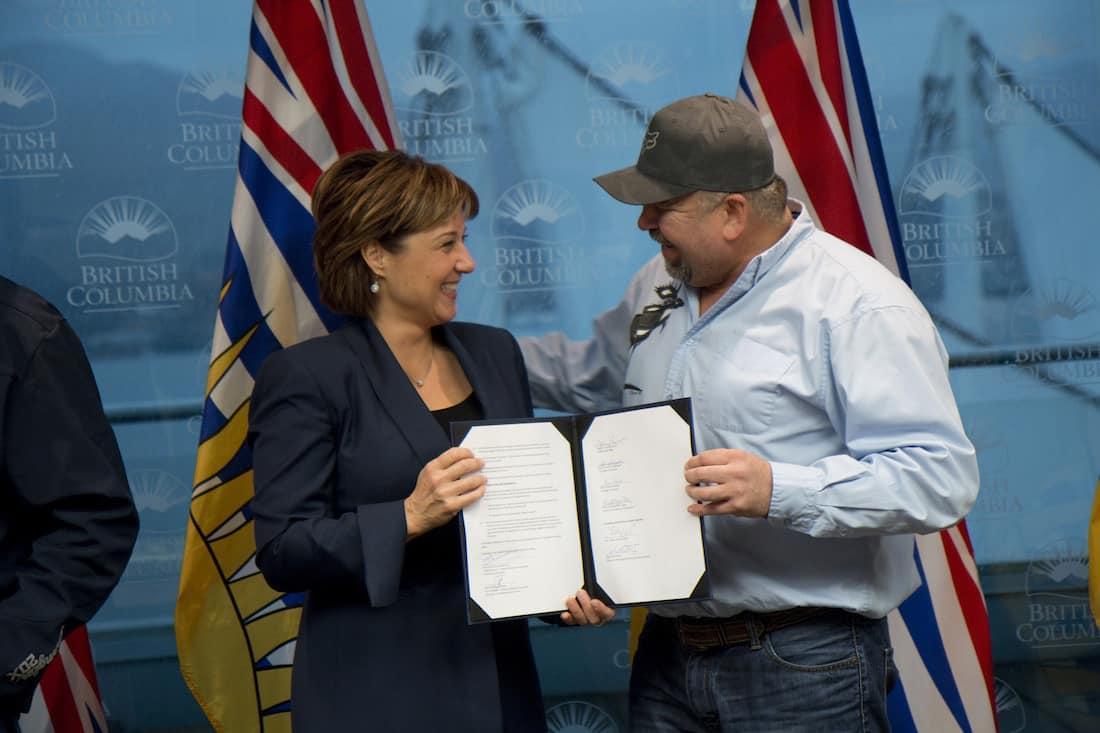Premier Christy Clark and Chief Joe Alphonse - Courtesy Province of British Columbia