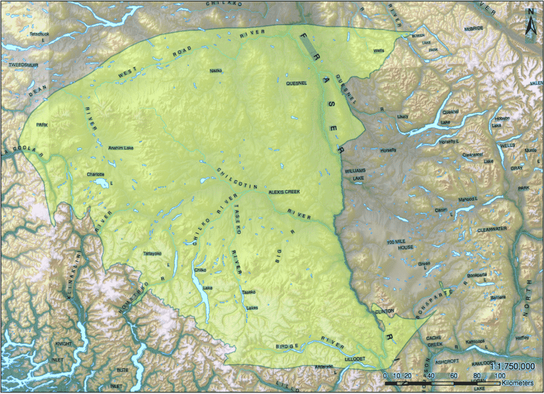 Schedule A - Map of the Tsilhqot'in Territory from the NENQAY DENI ACCORD: