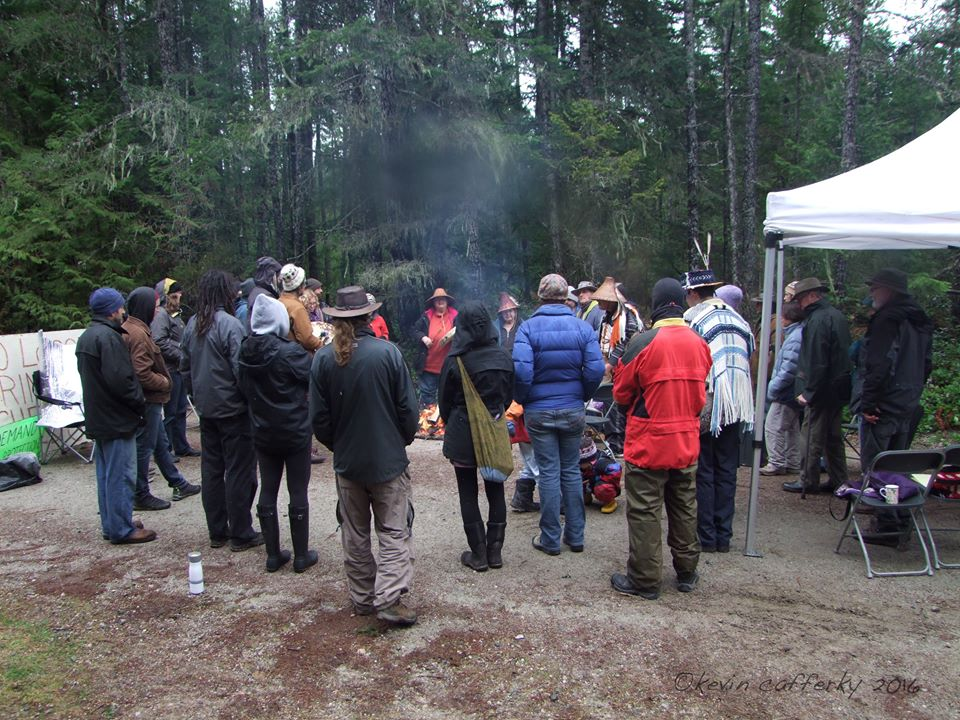 Seattle Nation & other local residents at the Logging blockade - Courtesy Elphinstone Logging Focus