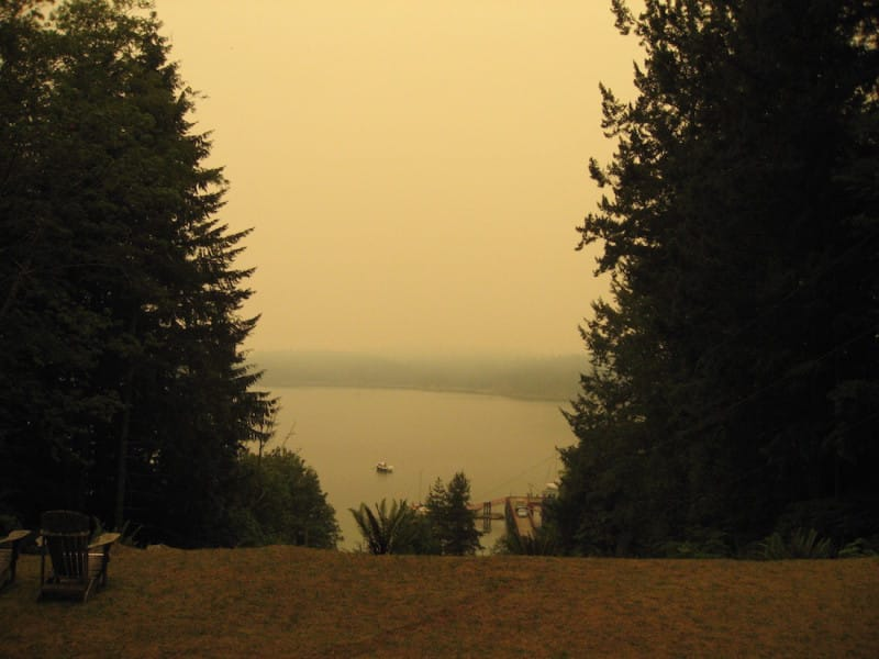 Smoke from Wildfires blanketing Cortes Island (and much of Southwestern BC) during July 2015 - Roy L Hales