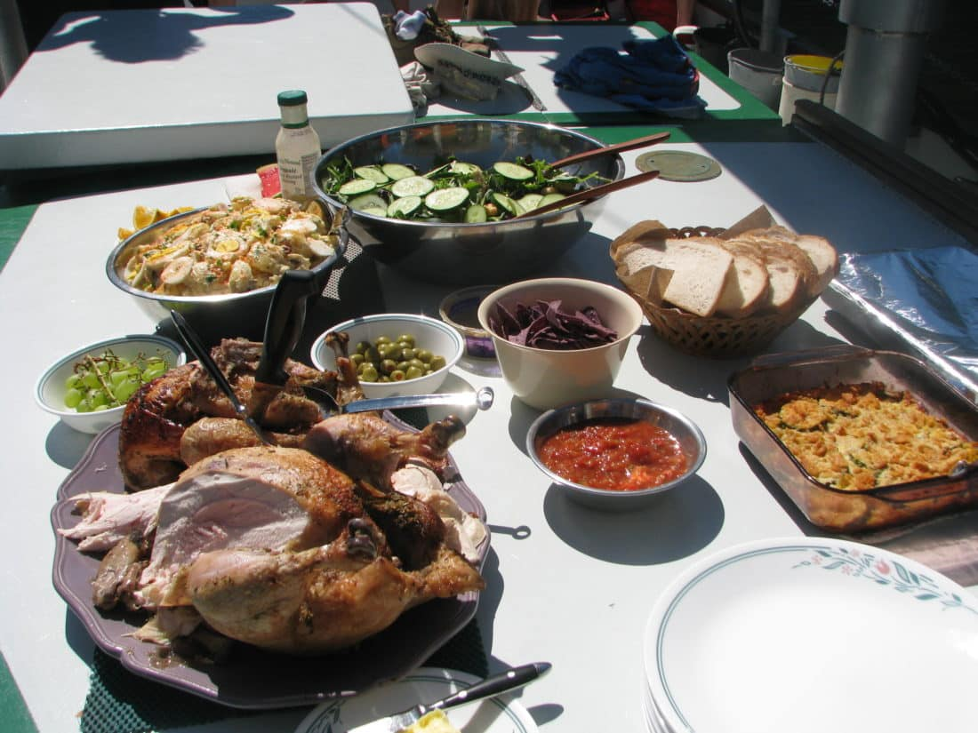 A significant portion of this lunch originates from the Moore's garden on Cortes Island.