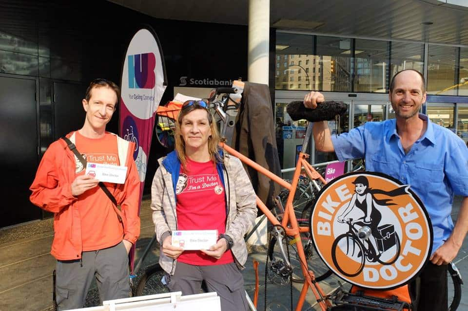 The team at Bike Doctor commuted in 2.9km from their store at 137 West Broadway - Courtesy HUB Cycling