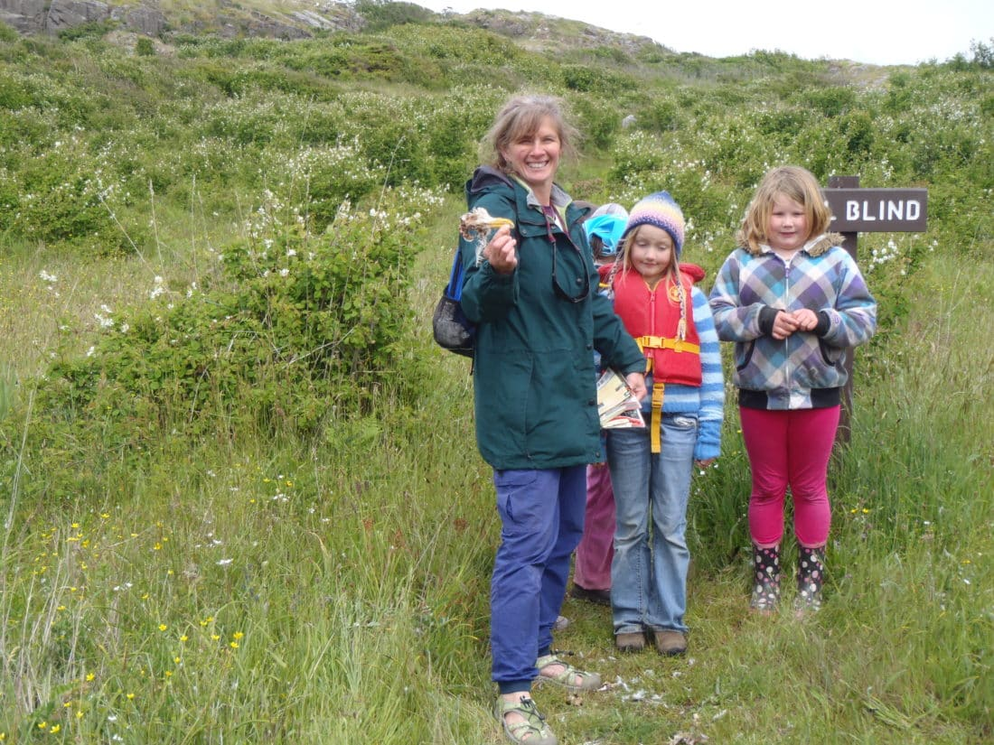 Samantha Moore showing children around Mitlenatch Island Nature Park - Courtesy Misty Isles Adventures
