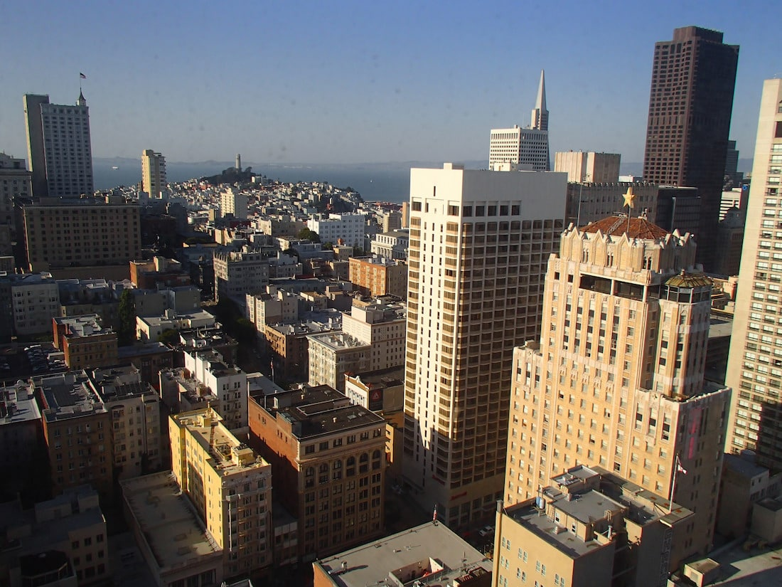 View of San Francisco from a room in the Hotel Westin St. Francis by Edward Rooks via Flickr (CC BY SA, 2.0 License)