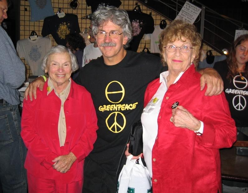 Rex Weyler, with Greenpeace co-founders Dorothy Stowe and Dorothy Metcalfe, 2004.