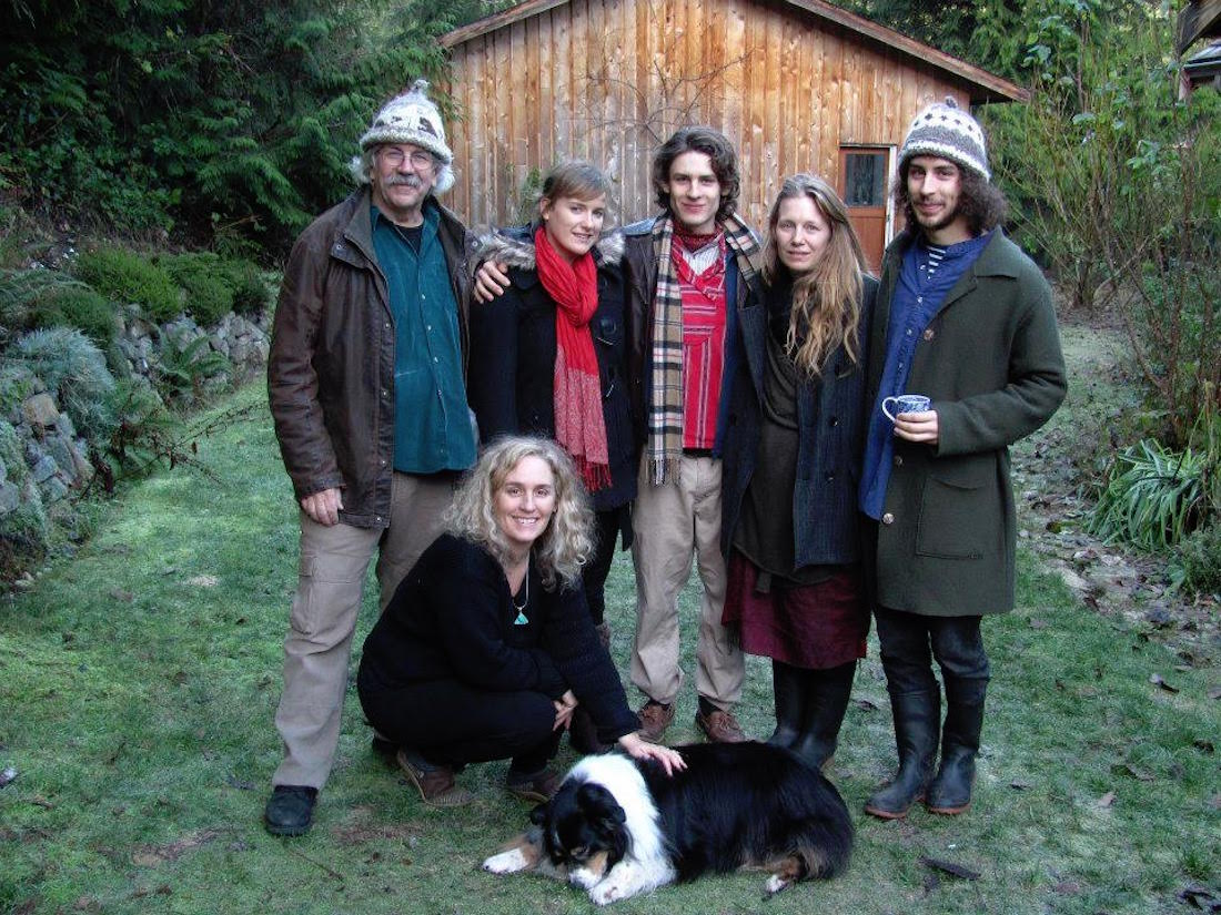 Weyler, wife Lisa Gibbons (kneeling), sons and friends, 2012, Cortes Island. - Courtesy Rex Wyler