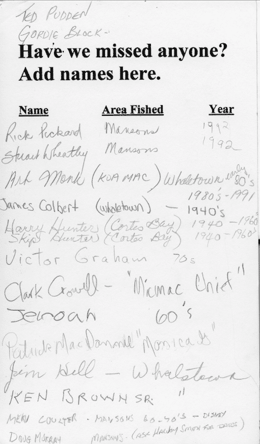 """More names of Commercial Fisherman on Cortes Island - Courtesy of Cortes Island Museum """"In Celebration of Wild Salmon"""" Exhibit 2001/2"""