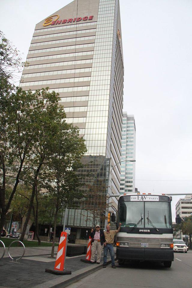 Caravan Bus beside the Enbridge Building in Edmonton on September 5 - Courtesy Justice for the Peace Facebook