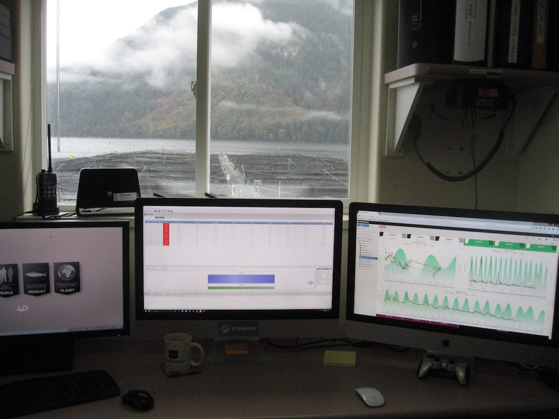 Looking out on the fish cages, from the control room of Phillips Arm Fish Farm - Roy L Hales photo