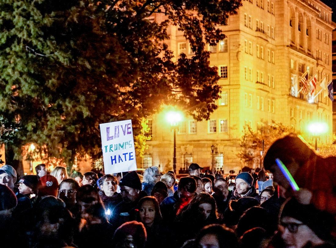 November 12, 2016, anti-Trump protest in Washington DC by Ted Eytan via Flickr (CC BY SA, 2.0 License)