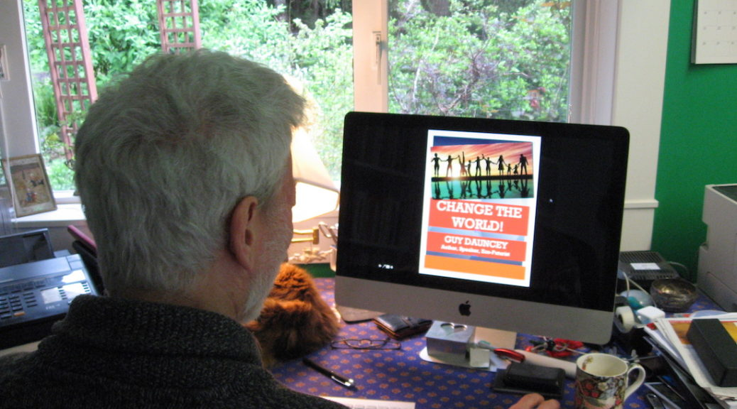 Guy Dauncey Looking at the cover of Journey To The Future