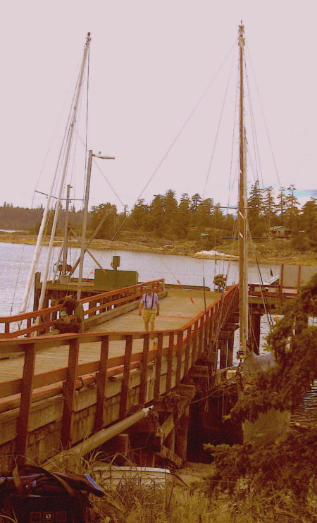 Another view of the two sailboats at Manson's Landing on July 8 (photo was underdeveloped and color enhanced to bring out detail) - Roy L Hales photo
