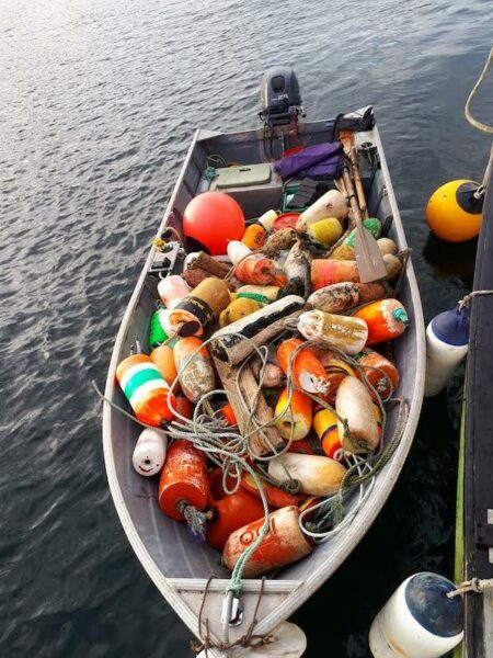 bringing some of the stuff found salvaging on BC's Central Coast back to the boat