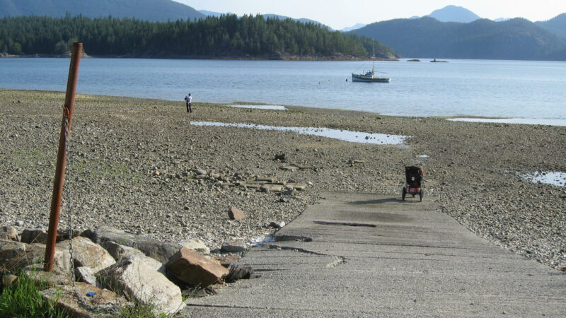 Site of Harbour Authority Cortes Island's second annual gumboot toss