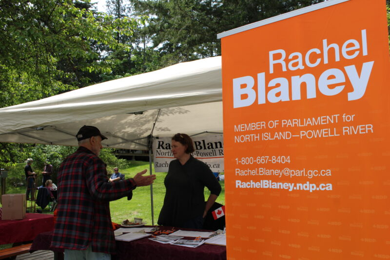 Rachel Blaney, NDP candidate for Powell River -North Island, at Seafest 2019 on Cortes Island