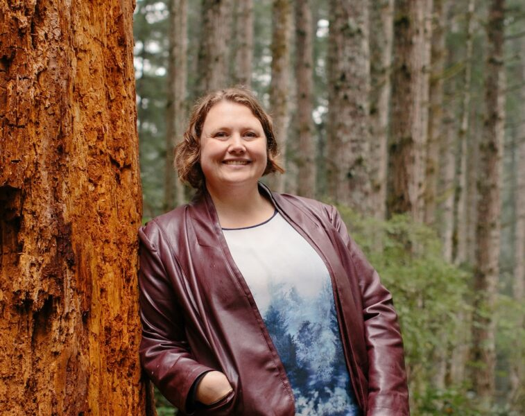 Rachel Blaney, NDP candidate for Powell River - North Island in the forest