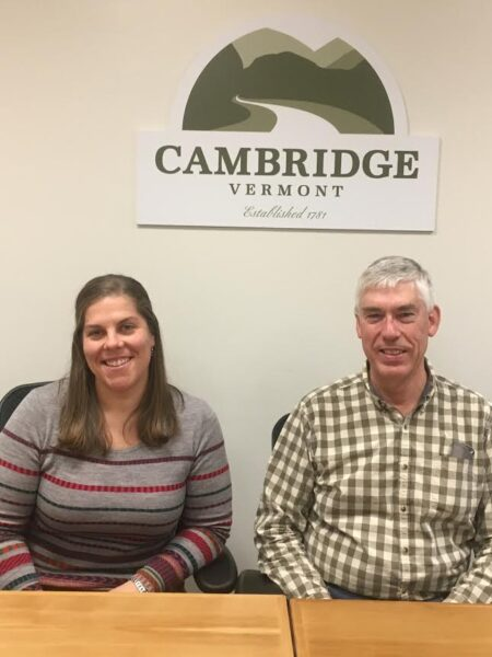 Marguerite Ladd, town administrator; George Putnam, Select Board Chair for Cambridge, Vermont
