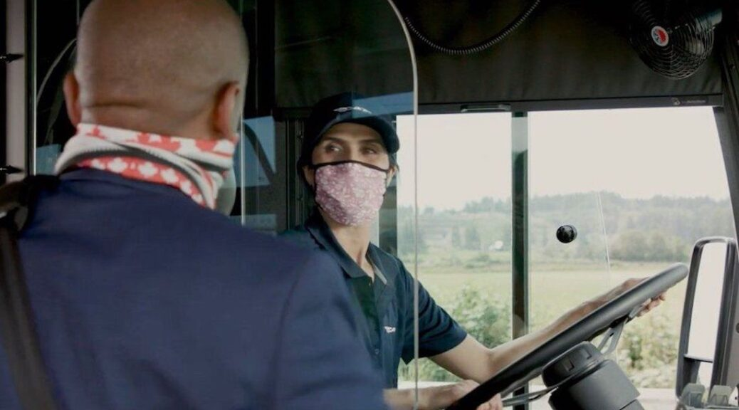 face masks on buses
